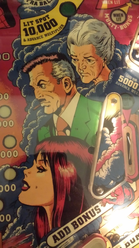A detail from a Spider-man pinball machine with Aunt May, Mary Jane and J. Jonah Jameson